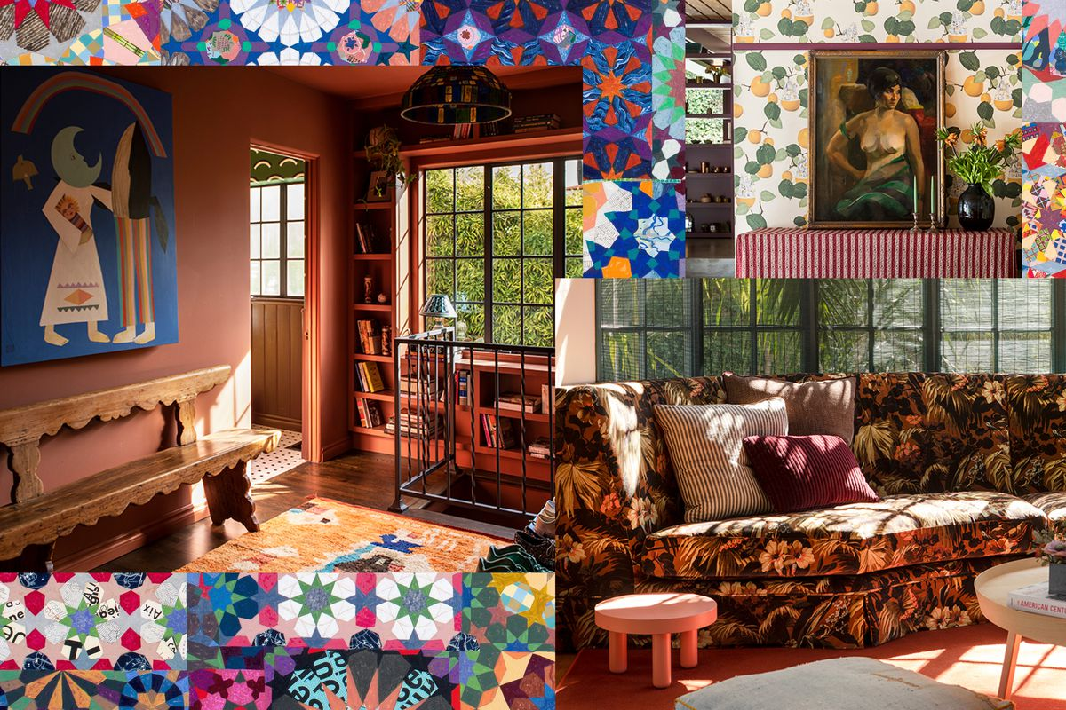 A collage of an entryway with mauve walls, an orange rug, and wood bench with scalloped edges; a sofa with bold floral upholstery set next to a large window; and a wall with lemon-printed wallpaper.
