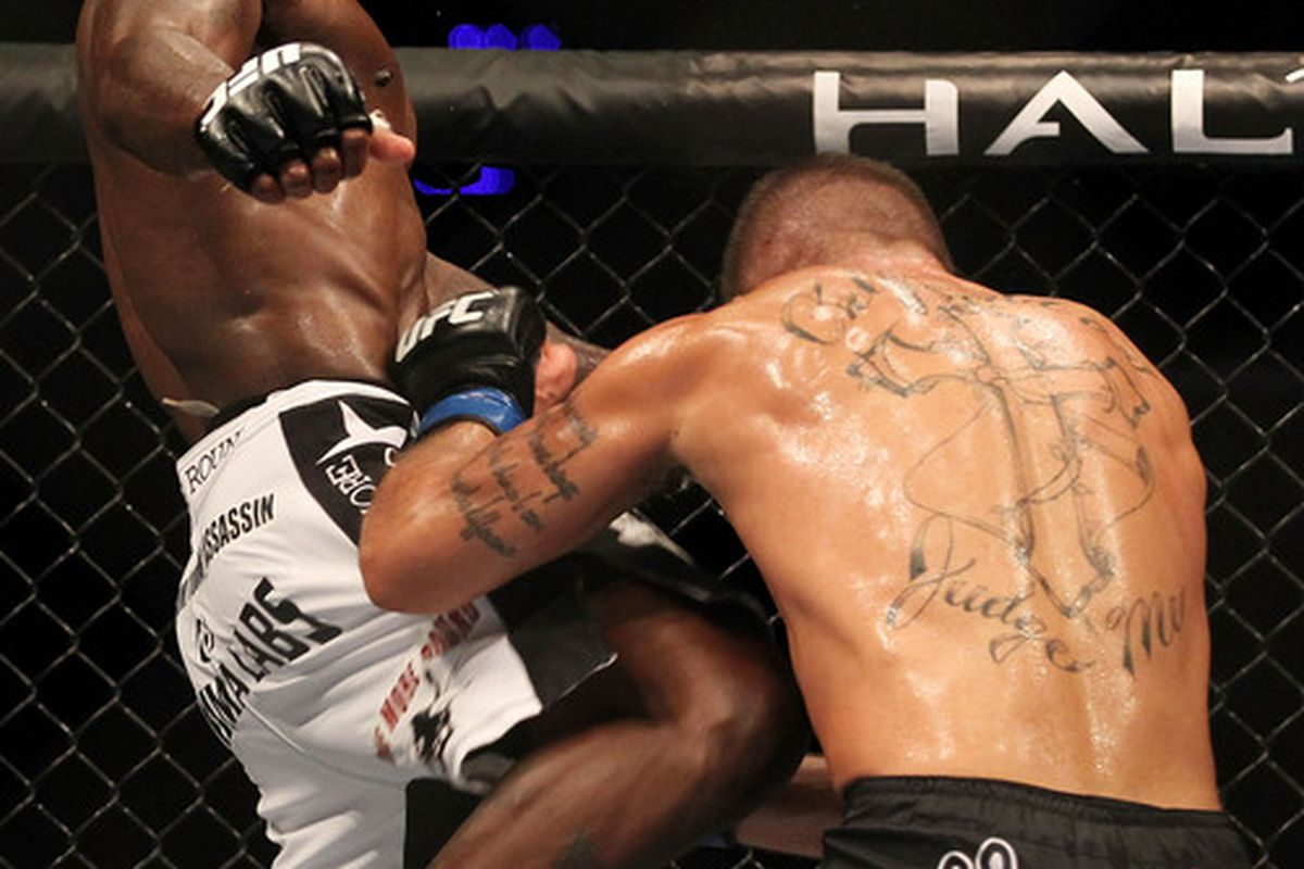 INDIANAPOLIS - SEPTEMBER 25:  (L-R) Melvin Guillard knees Jeremy Stephens during their UFC lightweight bout at Conseco Fieldhouse on September 25 2010 in Indianapolis Indiana.  (Photo by Al Bello/Zuffa LLC via Getty Images)