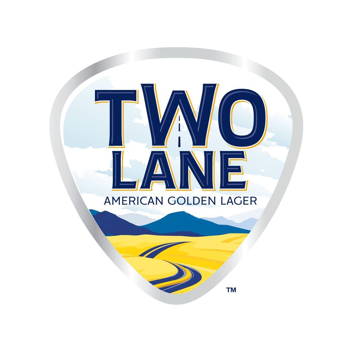 The official logo of Luke Bryan's Two Lane American Golden lager beer.
