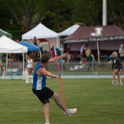 Logan Tittle prepares to throw the javelin.