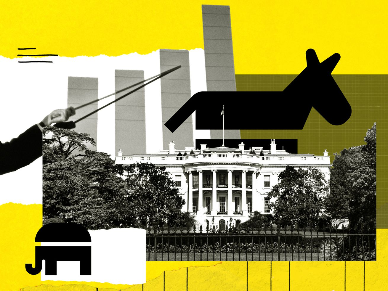 A photo illustration showing the White House, a donkey, an elephant, and a bar chart.