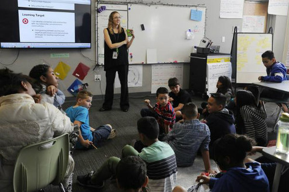 A classroom at the Edna and John W. Mosley P-8 in Aurora. (Photo by Anya Semenoff, The Denver Post)