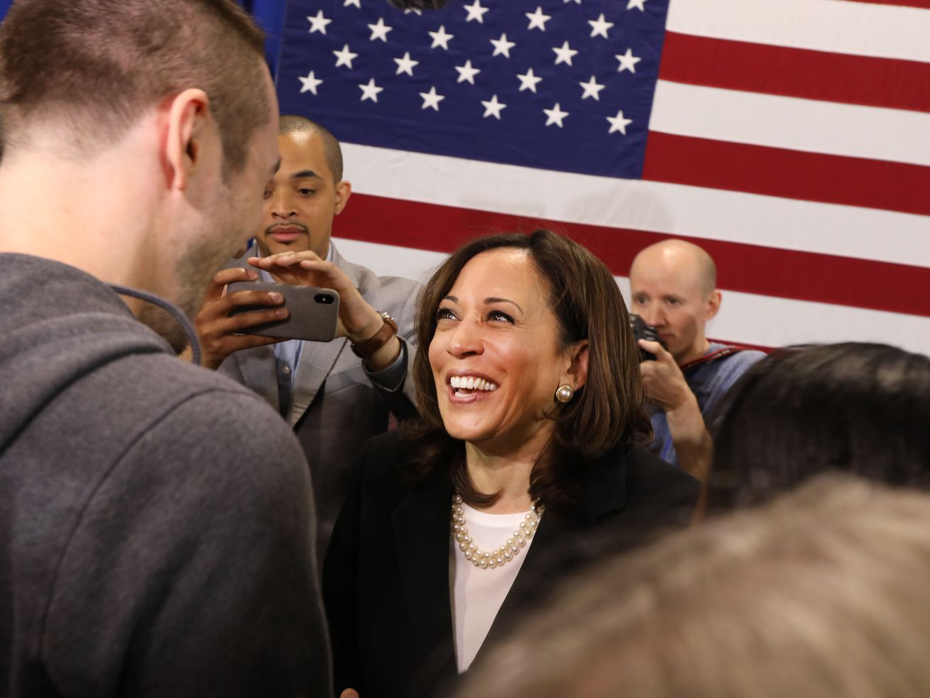 Presidential candidate US Sen. Kamala Harris (D-CA) speaks with supporters at a campaign stop on May 15, 2019, in Nashua, New Hampshire.