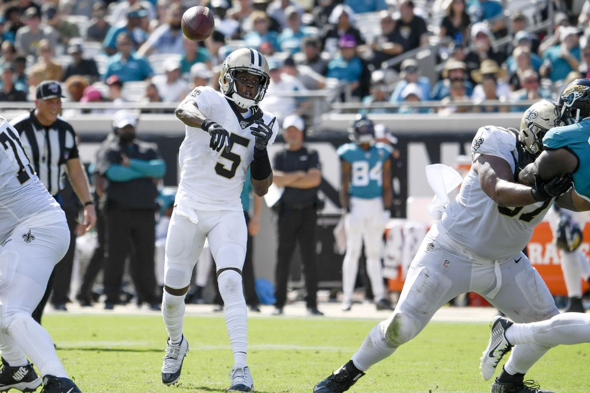 New Orleans Saints quarterback Teddy Bridgewater throws the ball against the Jacksonville Jaguars during the fourth quarter at TIAA Bank Field.