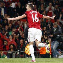 Manchester United's Michael Carrick celebrates after scoring against Galatasaray during their Champions League group H soccer match at Old Trafford in Manchester, England, Wednesday Sept. 19, 2012.