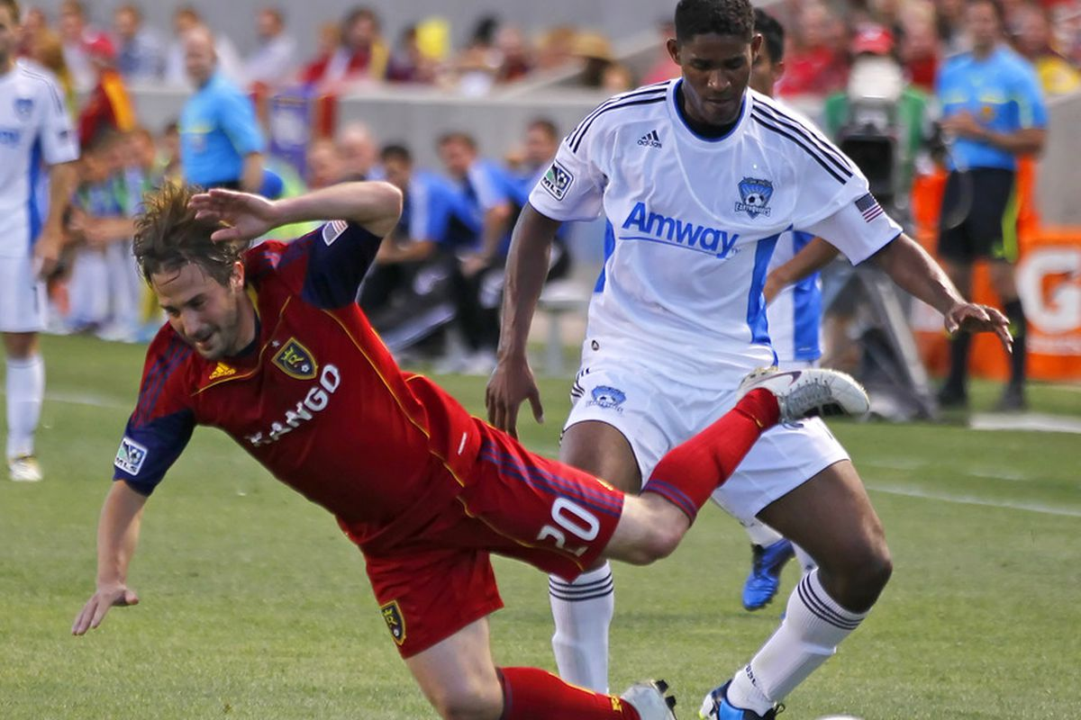 Khari Stephenson, now on trial with Real Salt Lake, takes down Ned Grabavoy in 2011.