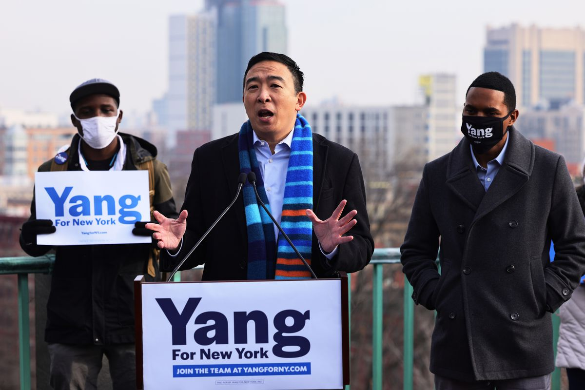New York City Mayoral candidate Andrew Yang speaks at a press conference on January 14, 2021 in New York City.