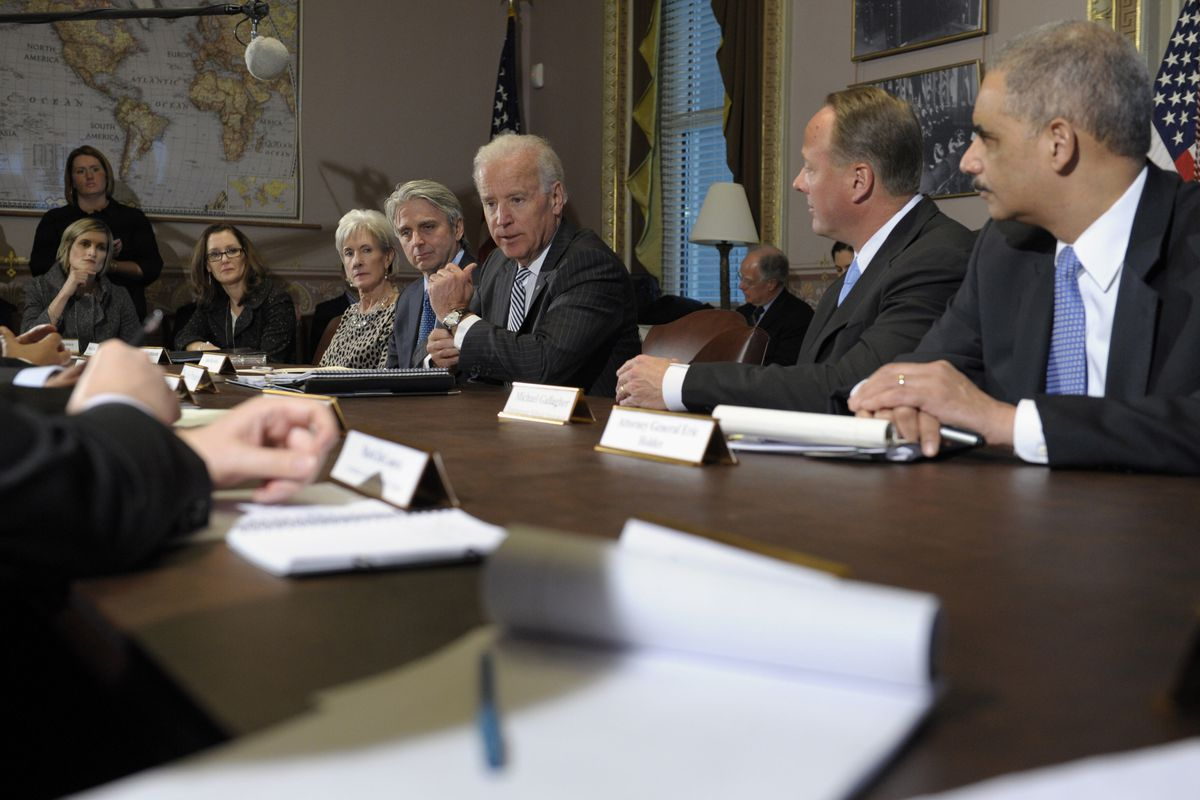 Vice President Joe Biden (center) meets with representatives of the game industry on Friday, Jan. 11, 2013, to discuss gun violence in America.