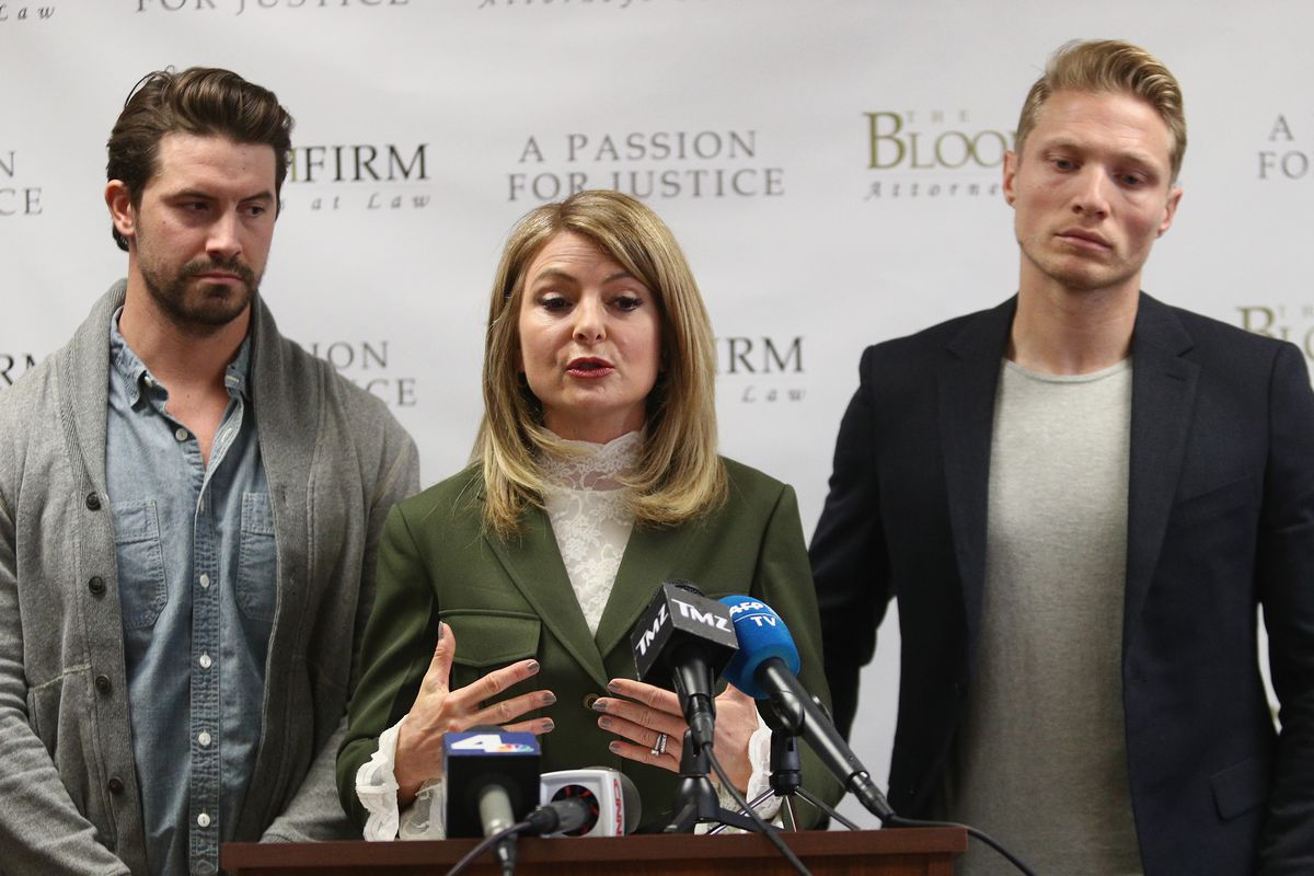 Attorney Lisa Bloom with models Mark Ricketson and Jason Boyce during 2017 press conference accusing Bruce Weber of sexual misconduct.