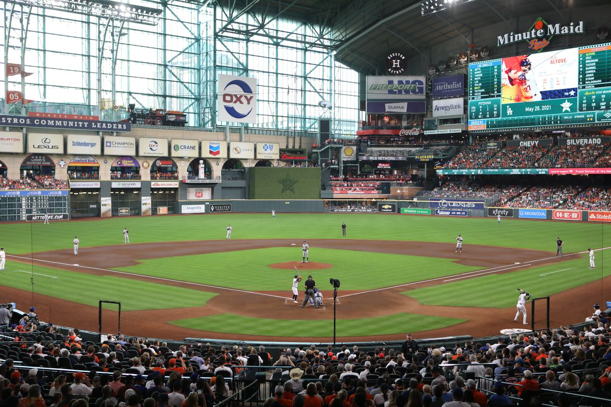 An overall view during the game between the Los Angeles Dodgers and the Houston Astros at Minute Maid Park on Wednesday, May 26, 2021 in Houston, Texas.