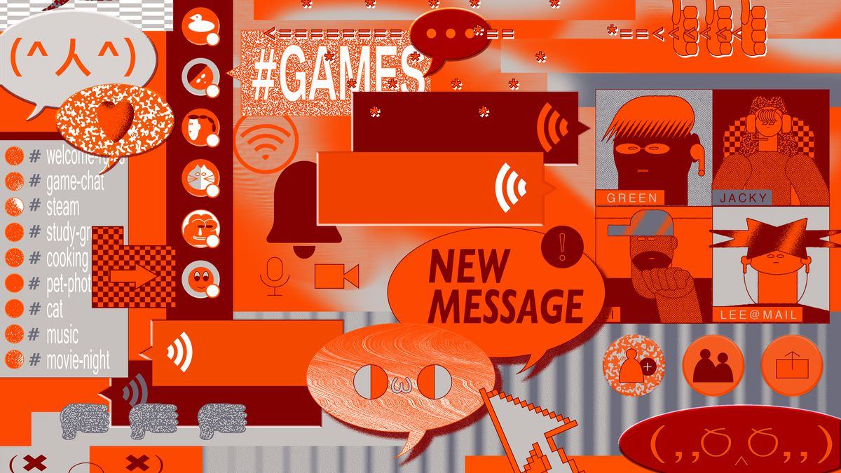 Abstract illustration of messaging apps in orange, brown and grey