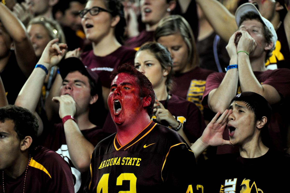 Sept. 8, 2012; Tempe, AZ, USA; Arizona State Sun Devils fans cheer during the game against Illinois Fighting Illini at Sun Devil Stadium. Mandatory Credit: Jennifer Hilderbrand-US PRESSWIRE