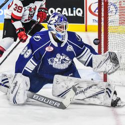 Syracuse Crunch goalie Connor Ingram (39) makes a save against the Binghamton Devils in American Hockey League (AHL) action at the Floyd L. Maines Veterans Memorial Arena in Binghamton, New York on Friday, October 19, 2018. Syracuse won 4-0.