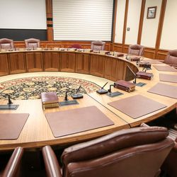 The Quorum of the Twelve Conference Room inside the Church Administration Building in Salt Lake City on Monday, Sept. 18, 2017.