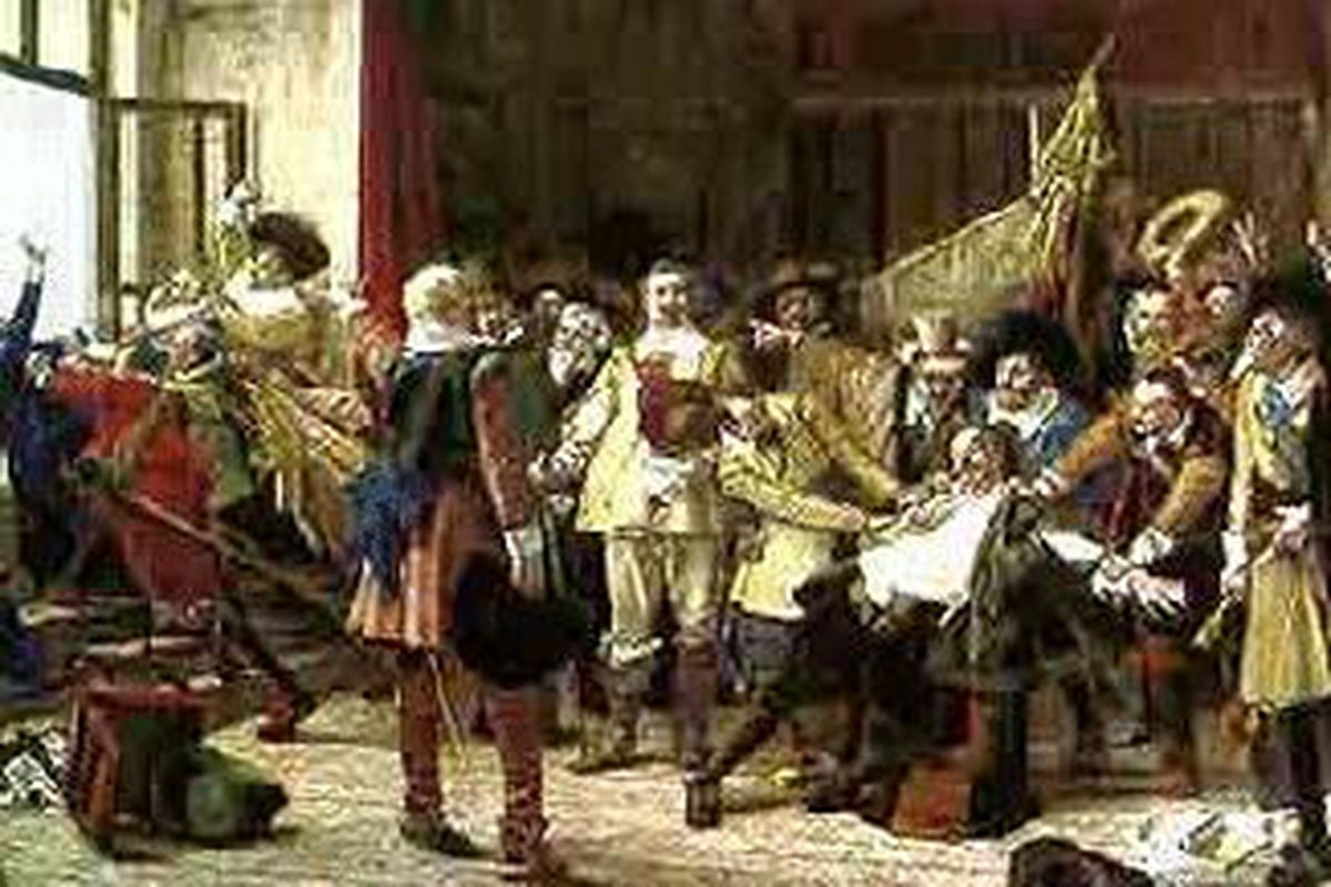 """A rendering of the <a href=""""http://en.wikipedia.org/wiki/Defenestrations_of_Prague"""">Defenestration of Prague</a>."""