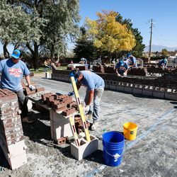 Masons and hod tenders compete in the Spec Mix Bricklayer 500 regional competition at Interstate Brick in West Jordan on Friday, Oct. 9, 2020.