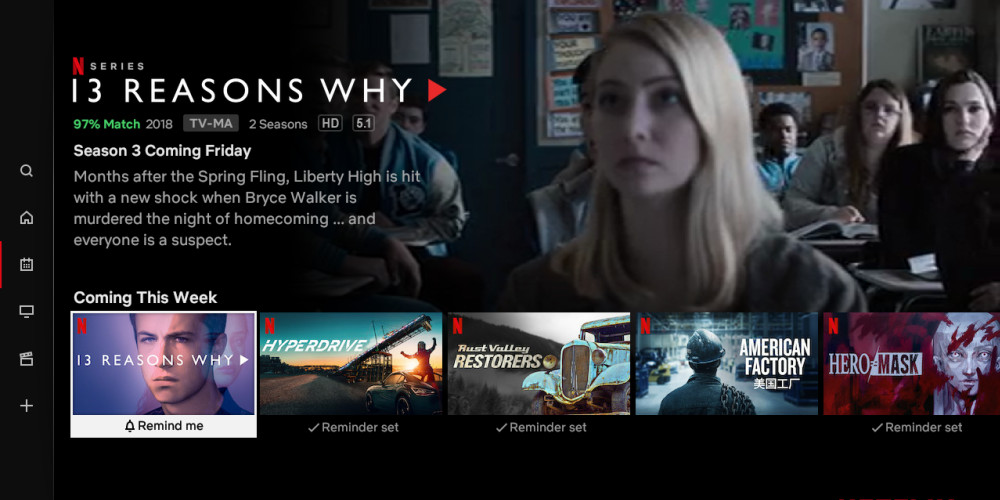 Netflix's TV app can now remind you when new shows are released