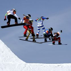 From left; Alexandra Jekova, of Bulgaria, Chloe Trespeuch, of France, Eva Samkova, of the Czech Republic, Michela Moioli, of Italy, Lindsey Jacobellis, of the United States, and De Sousa Mabileau Julia Pereira, of France, run the course during the women's snowboard cross finals at Phoenix Snow Park at the 2018 Winter Olympics in Pyeongchang, South Korea, Friday, Feb. 16, 2018.
