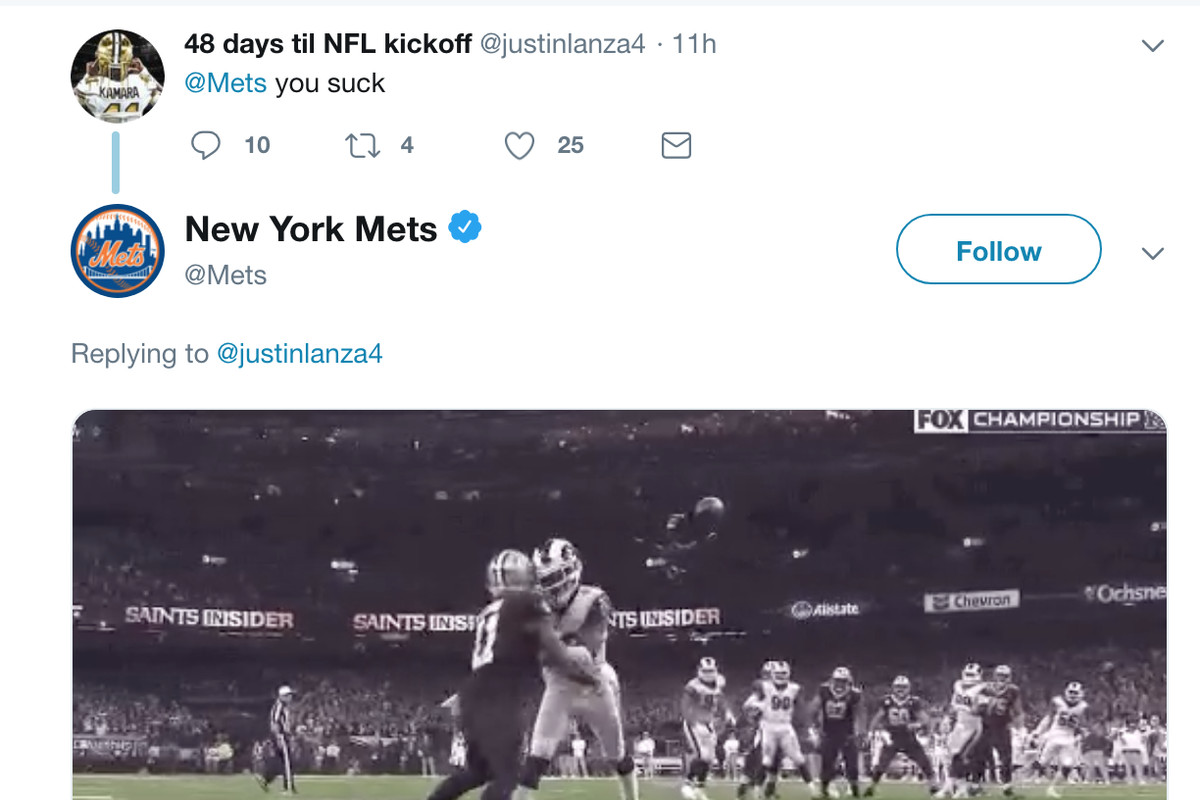 53371af7 Mets twitter account roasts New Orleans Saints' fan in perfect fashion ...