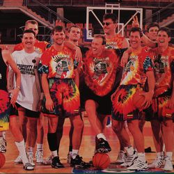 The 1992 Olympic basketball team from Lithuania sports the tie-dyed garb given to them by the popular rock group Grateful Dead.