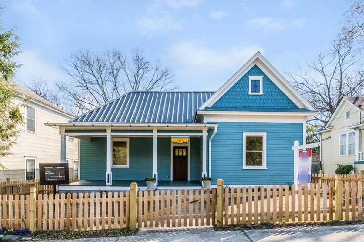 A bright blue Victorian home recently renovated in Grant Park, Atlanta.