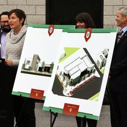 Erin Mendenhall of the Salt Lake City Council speaks during a groundbreaking for the new Central Ninth Market in Salt Lake City, Wednesday, Oct. 28, 2015. The 9,216-square-foot commercial building will be occupied by six locally-owned small businesses, including Jade Market, which will stand as the first local food market in the neighborhood.
