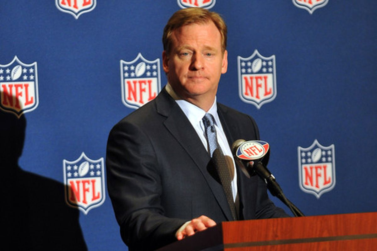 Roger Goodell at the NFL annual meetings in AZ.  The league will not mess with the playoff system... yet.