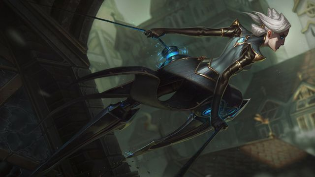 League of Legends champion Camille, perched on the side of a building.