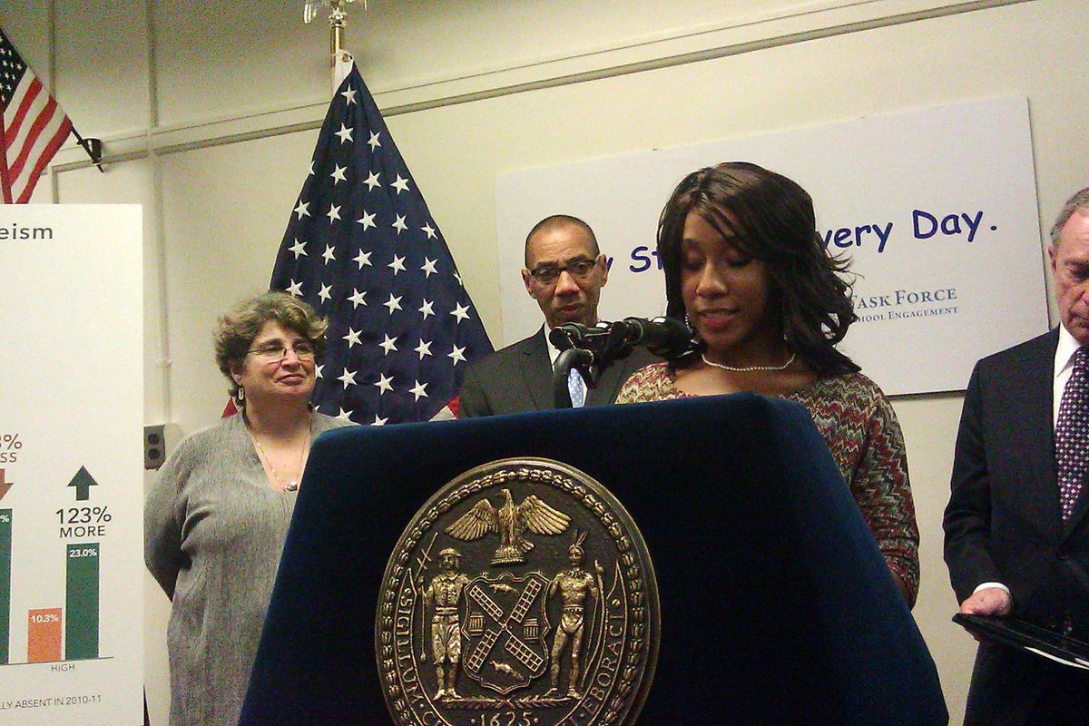 Jean Robinson, then a senior at the High School for Teaching and the Professions, spoke at a press conference touting the city's absenteeism initiative in 2011.