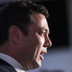 Rep. Jason Chaffetz, R-Utah, speaks to reporters during the Utah GOP election party at Rice-Eccles Stadium in Salt Lake City on Tuesday, Nov. 8, 2016.
