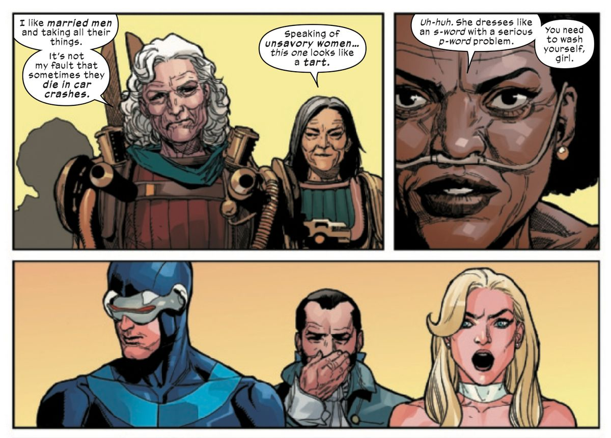 Three members of the Hordeculture ecoterrorist group, all old ladies, taunt Emma Frost, in X-Men #3, Marvel Comics (2019).
