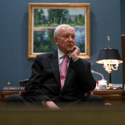Sen. Orrin Hatch, R-Utah, gives an interview in his office in the Hart Senate Office Building in Washington, D.C., on Thursday, Jan. 19, 2017.