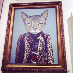 """Is it weird that we want to steal this Heather Mattoon-drawn cat's outfit? Photo via <a href=""""http://instagram.com/p/jp1nPqys7k/""""target=""""_blank"""">@misskelly13</a>."""