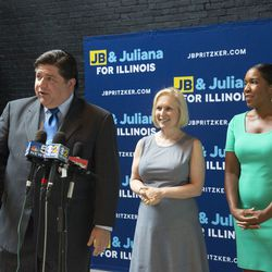 J.B. Pritzker, Senator Kirsten Gillibrand, and IL Rep. Juliana Stratton at the second annual WomenÕs Rights and Resistance lunch on July 16, 2018.   Jane Recker/For the Sun-Times