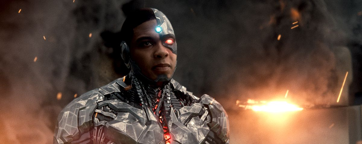 Cyborg standing in fire in Zack Snyder's Justice League