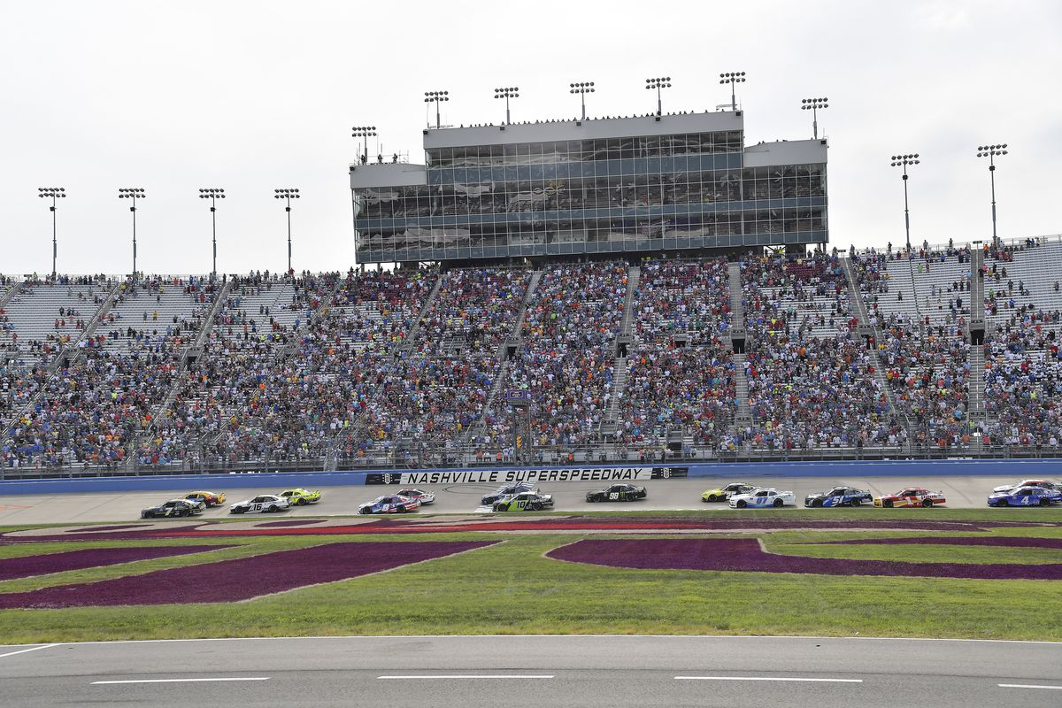 A general view of cars on track during the NASCAR Xfinity Series Tennessee Lottery 250 at Nashville Superspeedway on June 19, 2021 in Lebanon, Tennessee.