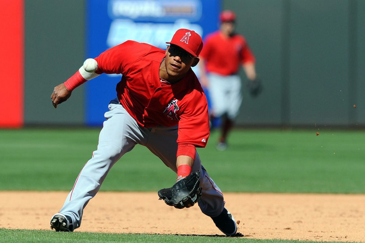 Mar 20, 2012; Surprise, AZ, USA; Los Angeles Angels second baseman Alexi Amarista (19) runs in on a ground ball during the sixth inning against the Kansas City Royals at Surprise Stadium. Mandatory Credit: Christopher Hanewinckel-US PRESSWIRE