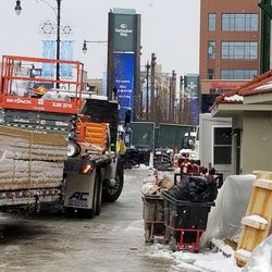 Truck delivering materials at the main gate