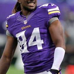 Aug 9, 2013; Minneapolis, MN, USA; Minnesota Vikings wide receiver Cordarrelle Patterson (84) prior to the game against the Houston Texans at the Metrodome.