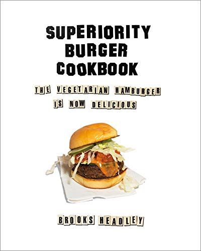 Cookbook cover with a vegetarian burger.