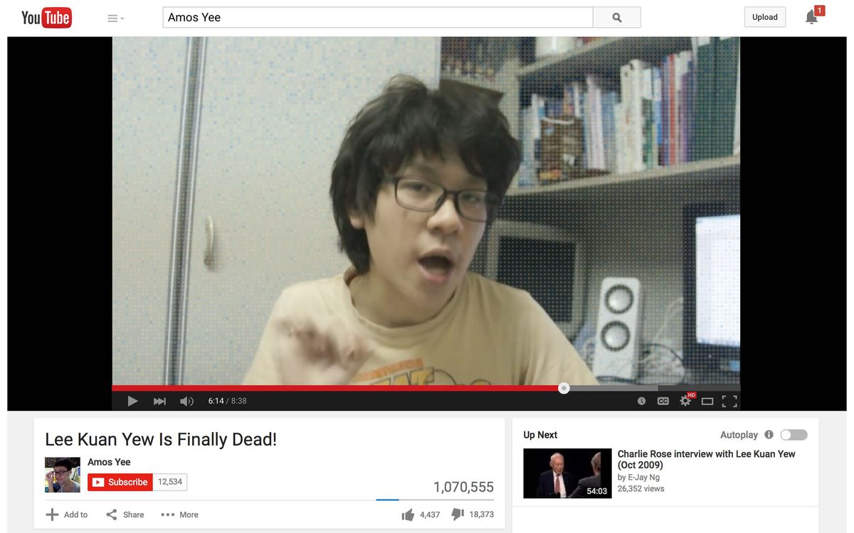 Teen vlogger Amos Yee was arrested for his YouTube rant about the recently deceased prime minister of Singapore.