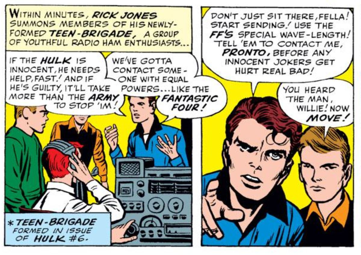Rick Jones and the Teen-Brigade in Avengers #1, Marvel Comics (1963).