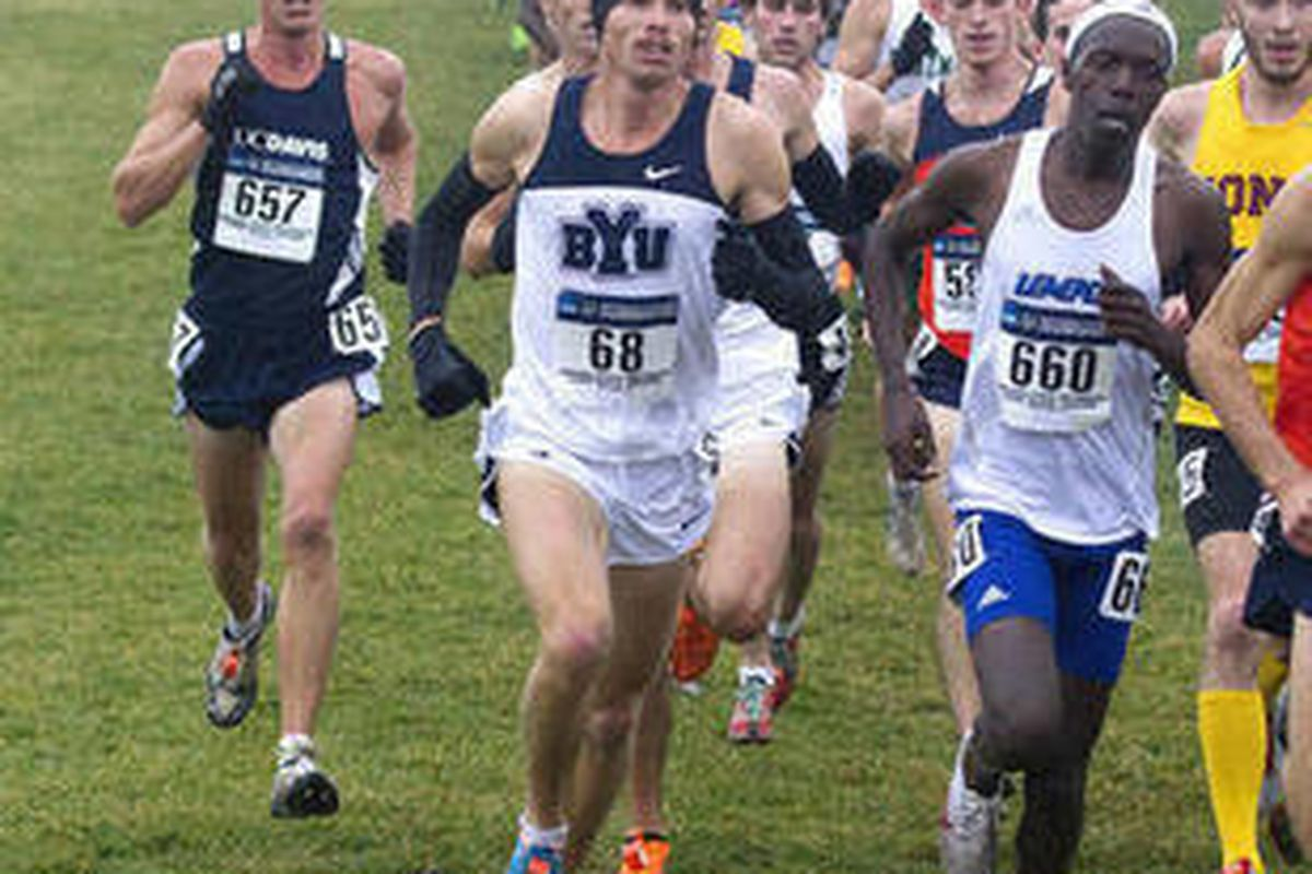 2011 NCAA Cross Country Championship hosted by Indiana State University at Terra Haute, Indiana. BYU men's team place 4th with 203 points. Wisconsin wins the title with 97 points. Miles Batty (60) place 14th Rex Shields (65) placed 22nd Jared Ward (68) Ty