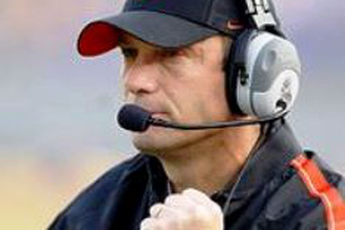 Mike Riley was fired up to get spring drills going today at Oregon St.