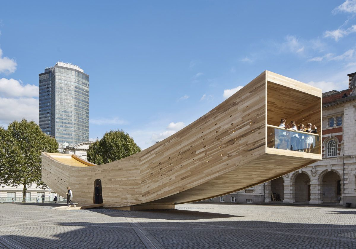 """The Smile,"" a public pavilion made of CLT, designed and built in London in 2016 by architect Alison Brooks."