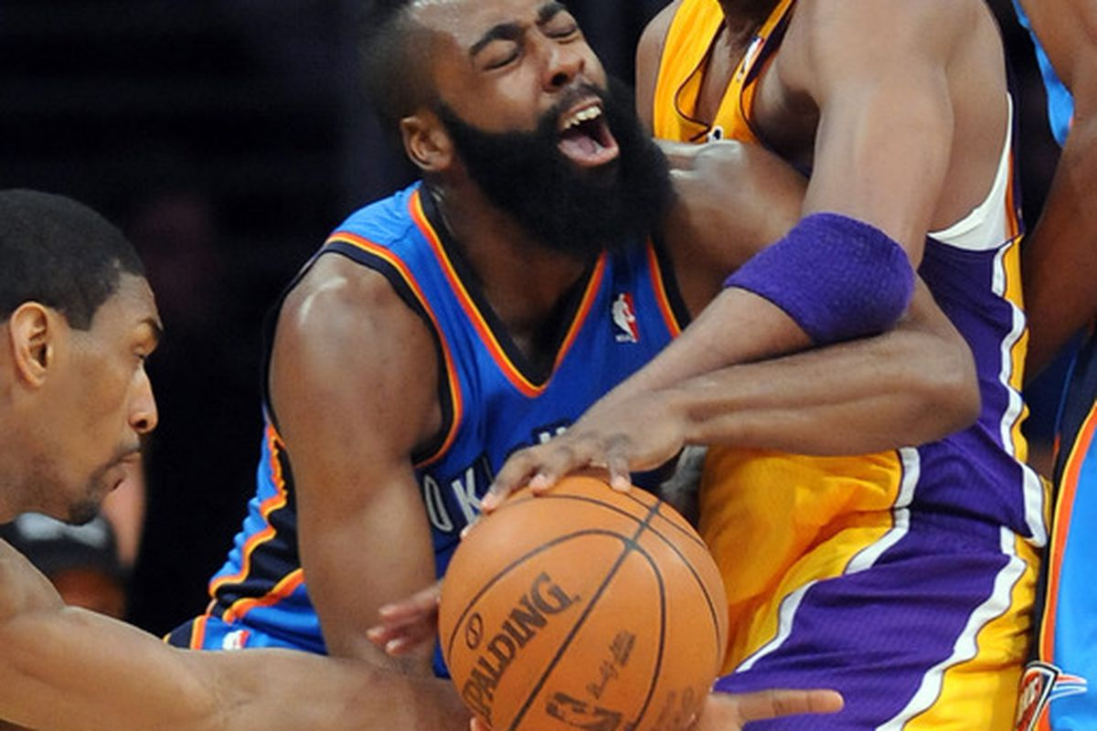 Harden: You're telling me this isn't a foul?!