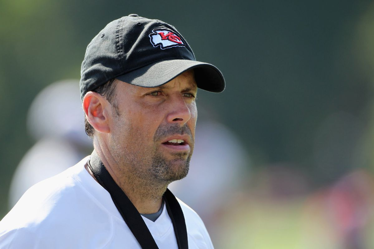 SAINT JOSEPH, MO - JULY 31:  Head coach Todd Haley watches during Kansas City Chiefs Training Camp on July 31, 2011 in Saint Joseph, Missouri.  (Photo by Jamie Squire/Getty Images)
