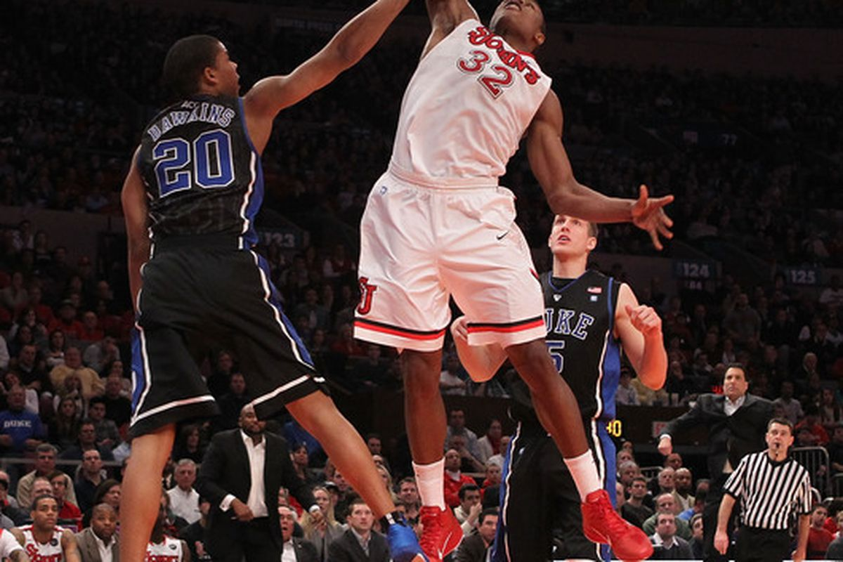 Brownlee, emphatically stuffing it against the Blue Devils.