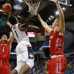 UConn's Christian Vital (1) goes up for a layup.