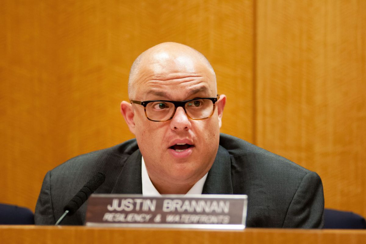 Councilmember Justin Brannan speaks at a hearing about flood protection.